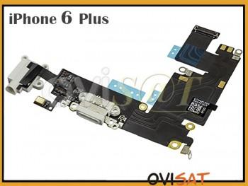 ef5e758539c Cable flex con conector lightning de carga y conector de audio jack blanco  / dorado para iPhone 6 plus 5.5 pulgadas